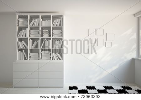 3D Illustration Filled bookshelf with books and many picture frames on a white wall