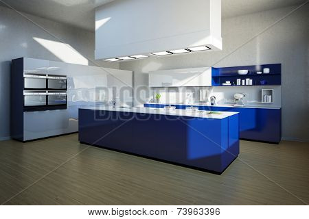 3D Illustration Clean blue kitchen island in a modern kitchen