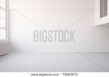 3D Illustration Empty white big room in loft for an office or workspace