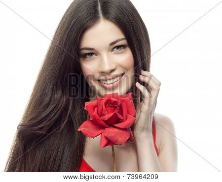 closeup portrait of attractive  caucasian smiling woman brunette isolated on white studio shot lips toothy smile face hair head and shoulders looking at camera tooth red rose flower body