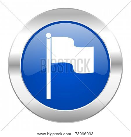 flag blue circle chrome web icon isolated