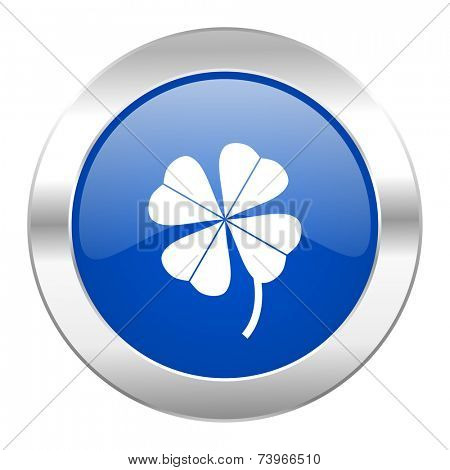 four-leaf clover blue circle chrome web icon isolated