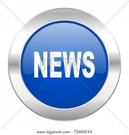 news blue circle chrome web icon isolated