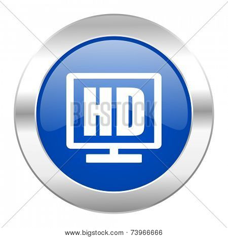 hd display blue circle chrome web icon isolated