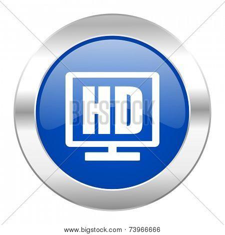 hd display blue circle chrome web icon isolated