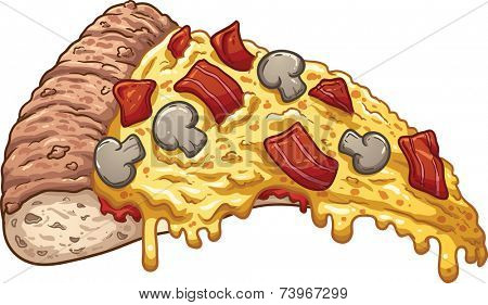 Slice of bacon pizza. Vector clip art illustration with simple gradients. All in a single layer.
