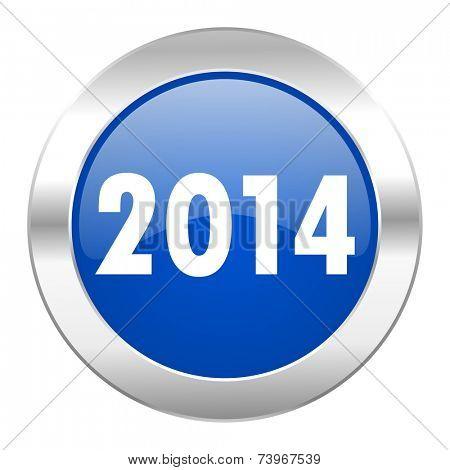 year 2014 blue circle chrome web icon isolated