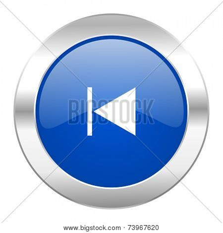prev blue circle chrome web icon isolated