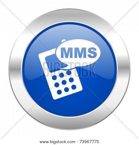 mms blue circle chrome web icon isolated