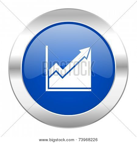 histogram blue circle chrome web icon isolated