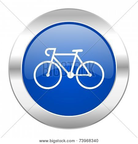 bicycle blue circle chrome web icon isolated