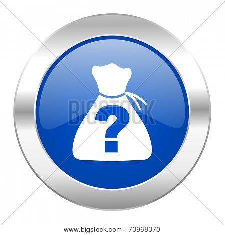 riddle blue circle chrome web icon isolated