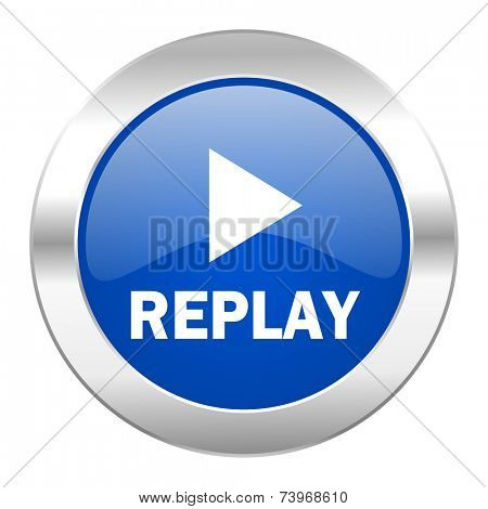 replay blue circle chrome web icon isolated