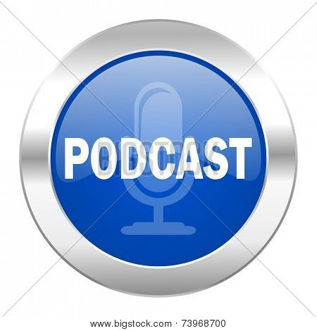podcast blue circle chrome web icon isolated