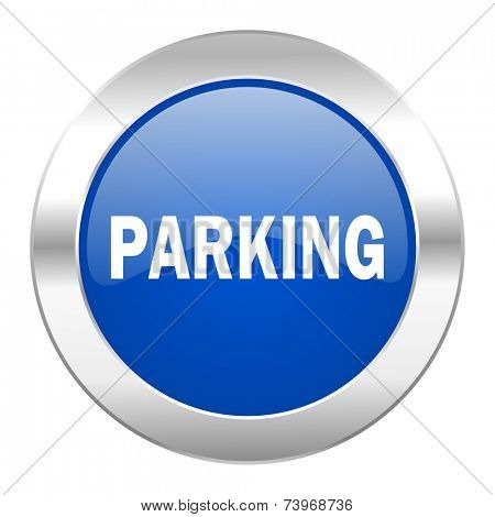 parking blue circle chrome web icon isolated