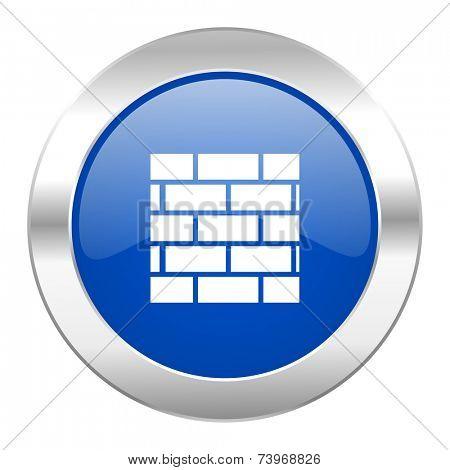 firewall blue circle chrome web icon isolated