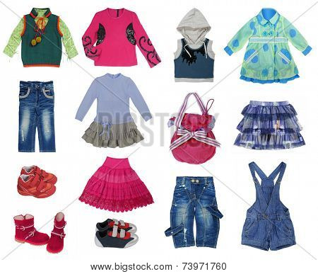 collection of children's clothes isolated on white