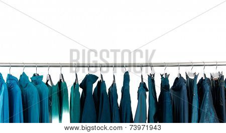 Fashion blue female clothes rack display