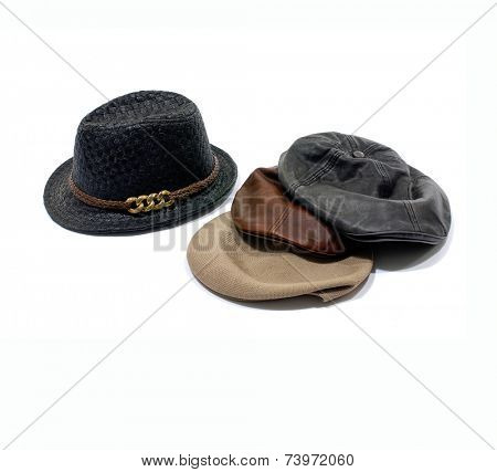 Wool tweed gentlemen's cap and felt trilby/fedora hat