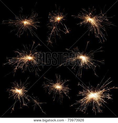 Sparklers on black background