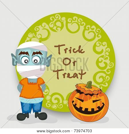 Sticker, tag or label for Trick Or Treat party celebration with spooky man and pumpkin on grey background.