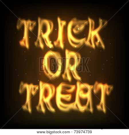 Stylish shiny golden text of Trick Or Treat for party celebration on dark brown background, can be use as poster, banner or flyer.