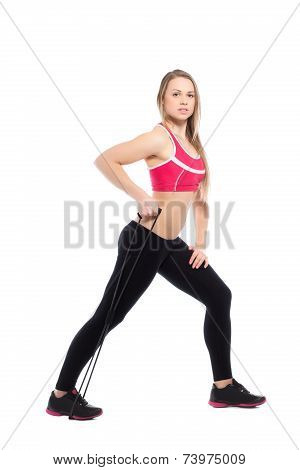 Pretty Woman Doing Exercises