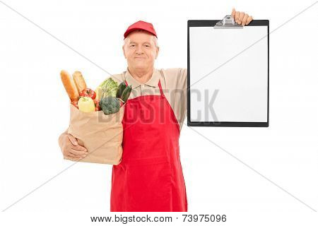 Market vendor holding a clipboard and a bag full of groceries isolated on white background
