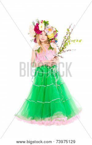 Little Girl In Wreath On Her Head