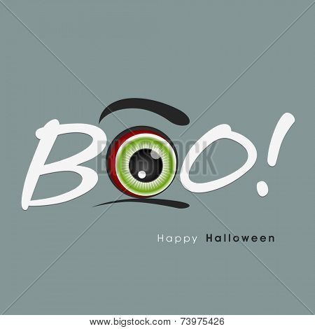Stylish text of Boo with monster's eye for Halloween party celebration concept, can be use as poster, banner or flyer.