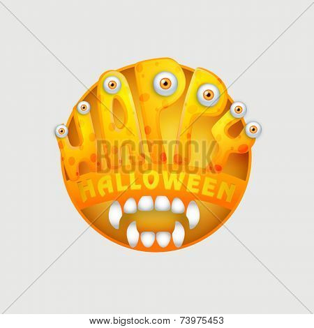 Halloween party and day celebration sticker, tag or label with spooky eyes and jaw on light grey background.