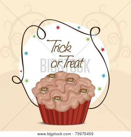 Poster, banner or invitation for Trick Or Treat party celebration with Halloween cupcake.