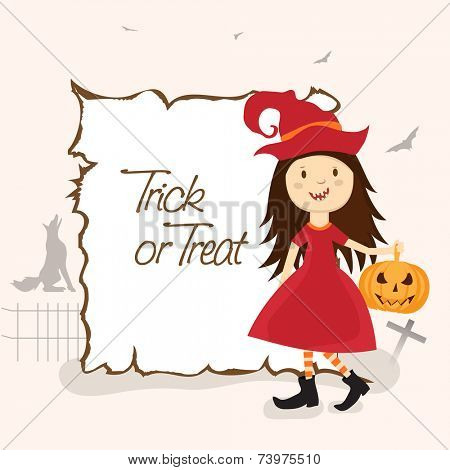 Poster, banner or flyer with smiling girl wearing a pilgrim hat shoes and holding a spooky pumpkin for Trick Or Treat party celebration.