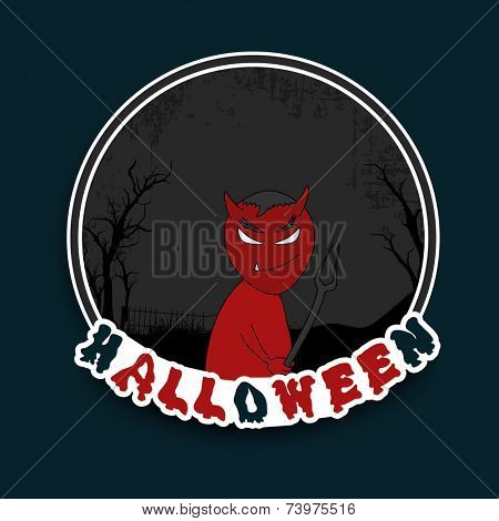 Horrible night scene with red scary ghost holding a weapon with stylish text Halloween.