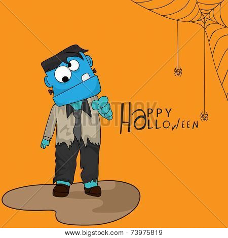Scary ghost in man's clothes with spider weaving cobweb and stylish Halloween text on orange background.