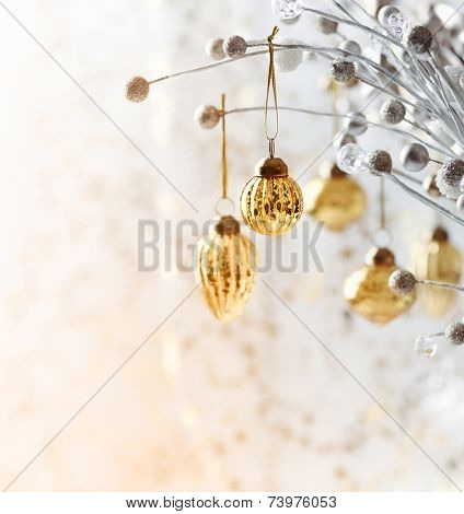 Christmas ornament hanging on a twig