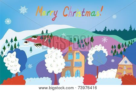 Merry Christmas card with mountain village