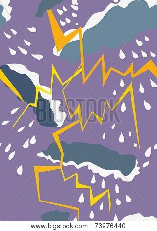 Seamless pattern with thunderstorm and rain