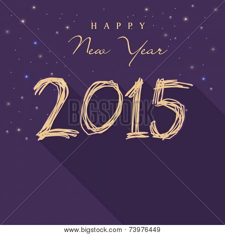 Happy New Year 2015 celebrations greeting card design on stars decorated purple background.