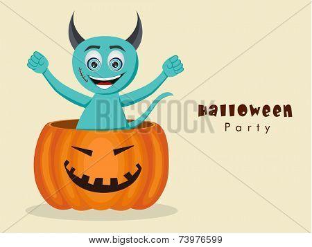 Funny devil cartoon standing in big pumpkin for Halloween party celebration on beige background.