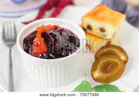 Breakfast: Cheesecake, Plums Amd Plum And Orange Jam