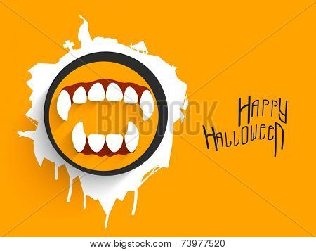 Poster and banner for Halloween party with horrible teeth and stylish wishing text on bright orange background.
