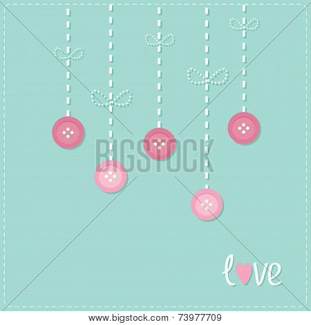 Hanging Rain Button Drops. Dash Line Love Card Flat Design