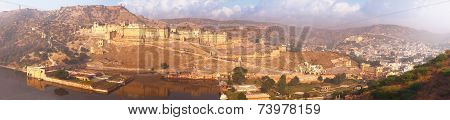 Indian Landmarks - Panorama With Amber Fort, Lake And The City. Jaipur