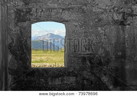 Mountain Panorama From The Window Of The Sommo Fort  In Italy
