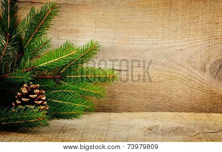 Wooden Christmas Backgrounds Fir Spruce Cone