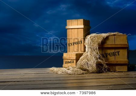 wooden crates on dock
