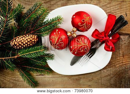 Christmas Plate Bauble Pines Wooden Surface