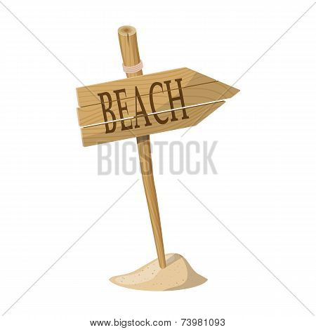 Wooden signpost indicating Beach direction isolated over white background. Vector illustration