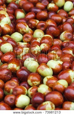 Background Of Ripe Berries Jujube Closeup